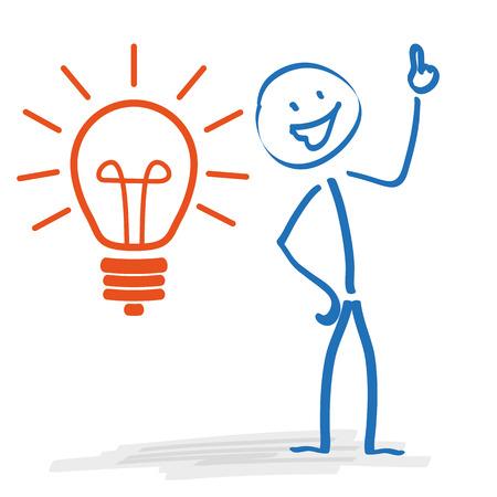 bonhomme allumette: Stickman avec ampoule sur le fond blanc. Eps 10 fichier vectoriel.