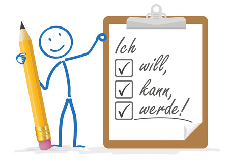 i pad: Stickman with pencil and german text Ich will, kann, werde, translate I want, can,  will.  Eps 10 vector file. Illustration