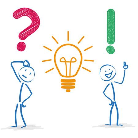 Stickman mit Frage-und-Antwort-Lampe auf dem weißen Hintergrund. Eps 10 Vektor-Datei.