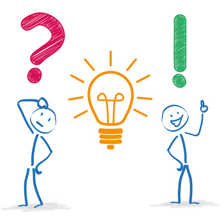 idea cartoon: Stickman with question, bulb and answer on the white background. Eps 10 vector file.