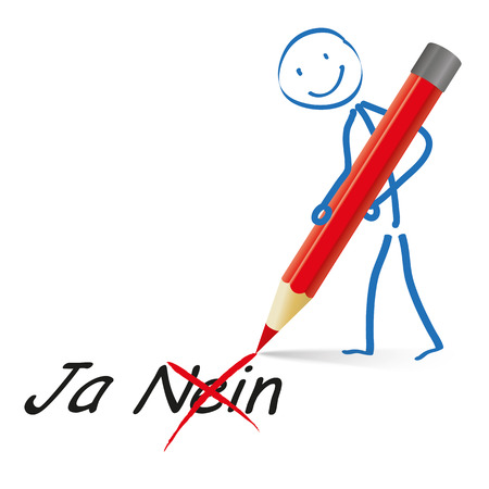 contra: Stickmen with pencil and german text Ja and Nein, translate Yes and No. Eps 10 vector file. Illustration