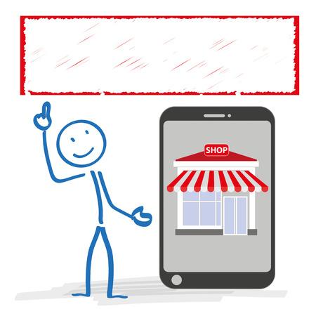 bonhomme allumette: Stickman avec smartphone et une boutique sur le fond blanc. Eps 10 fichier vectoriel.