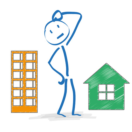 Stickman with house and apartmenthouse on the white background. Eps 10 vector file.