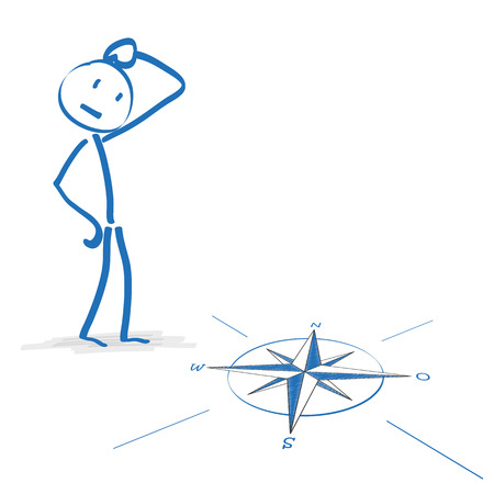 stickman: Stickmen with compass on the white background. Eps 10 vector file.