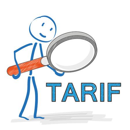"""Mit Lupe auf dem weißen Hintergrund Strichmännchen. Deutsch text """"Tarif"""" übersetzen """"Tarif"""". Eps 10 Vektor-Datei."""