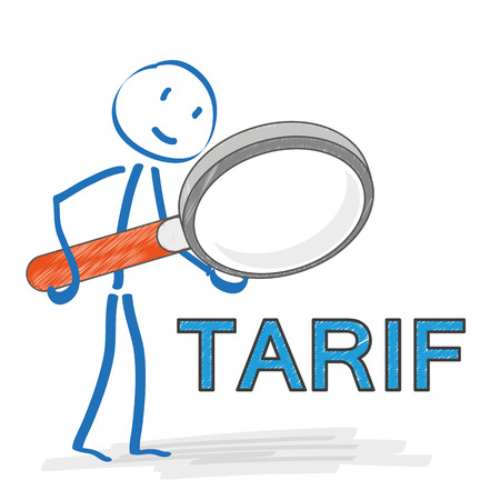 tariff: Stickmen with loupe on the white background. German text Tarif, translate tariff. Eps 10 vector file.
