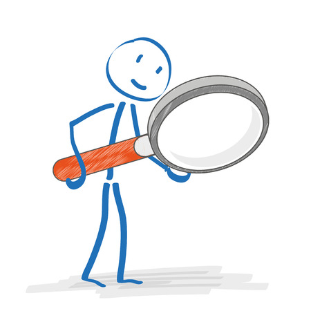 investigating: Stickmen with loupe on the white background. Eps 10 vector file.