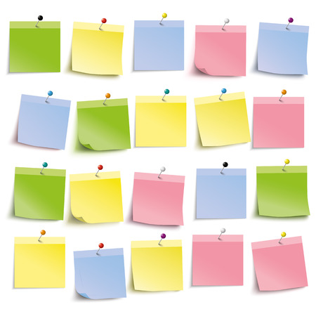 postit note: Colored stickers with pins on the white background. Eps 10 vector file.