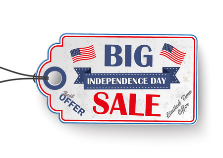 4th of july with price sticker on the white background.