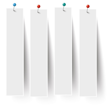 thumb tack: White frame banners with colored pins on the white background.