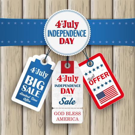 Onafhankelijkheidsdag verkoopprijs stickers met blauwe banner op de houten achtergrond.