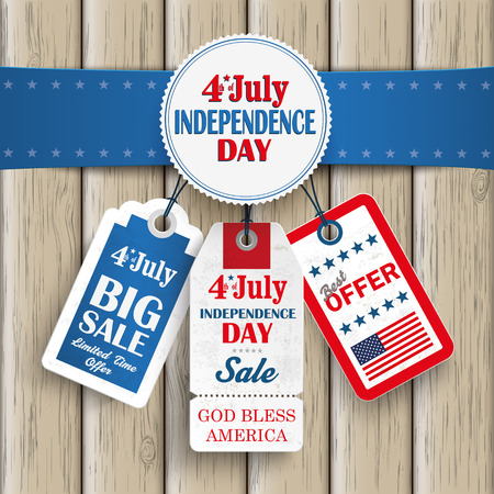 Independence day sale price stickers with blue banner on the wooden background.