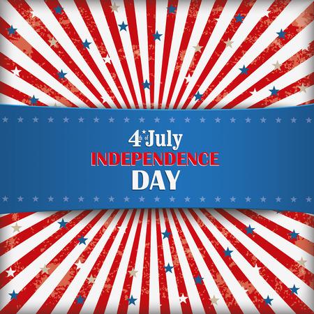独立記念日青いバナー付きレトロなチラシ。