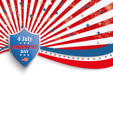 Independence day retro flyer with silver protection shield.