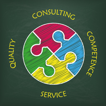 Circle puzzle with text consulting, quality, competence, service.