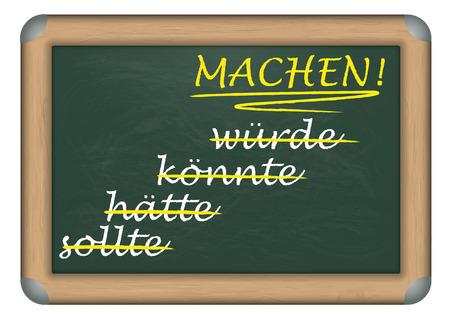 """Deutsch text """"sollte, Htte, knnte, wrde, Machen!"""", Übersetzt """"sollte, haben sollte, könnte, würde, Make!."""