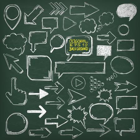 オールドスクールの要素を持つ黒板。 写真素材 - 39360886