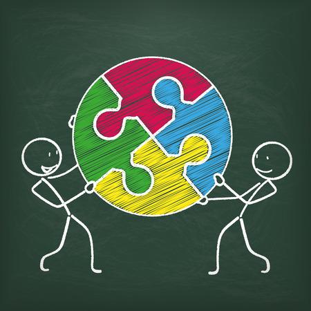 stickmen: Blackboard with 2 stickmen and circle puzzle Illustration