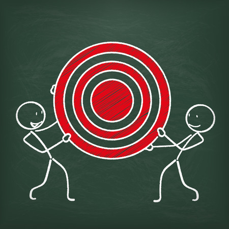 stickmen: Blackboard with 2 stickmen and red target.