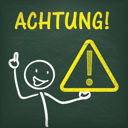 stickman: German text Achtung translate Attention.