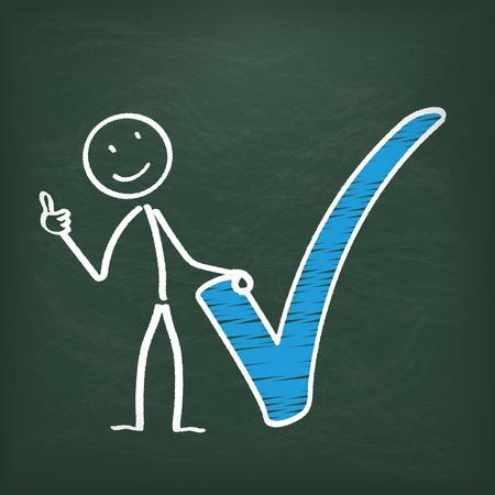 stickman: Blackboard with stickman and blue tick symbol.  Illustration