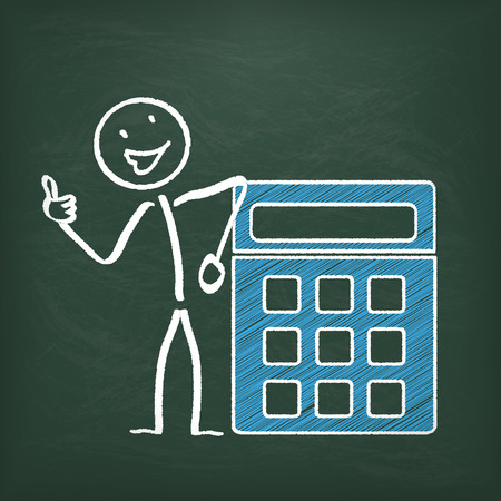 calculation: Blackboard with stickman and calculator.