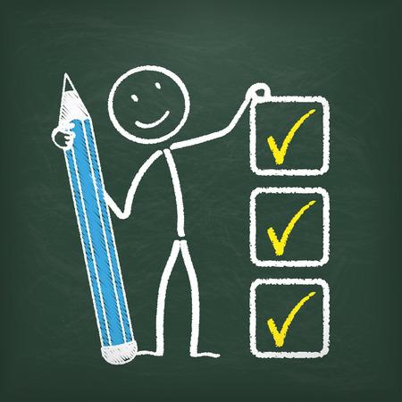 bonhomme allumette: Blackboard avec stickman, un crayon et une liste de contrôle. Illustration