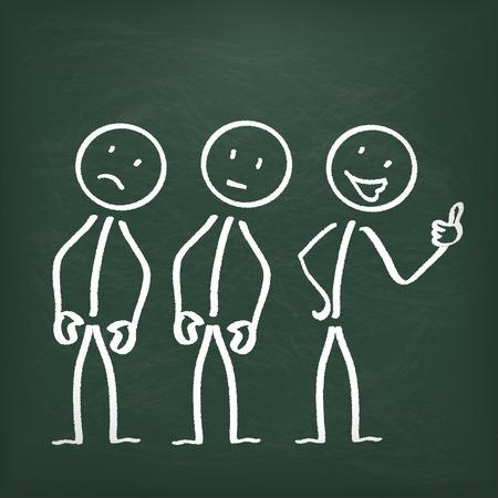 joyfulness: Blackboard with 3 stickmen.