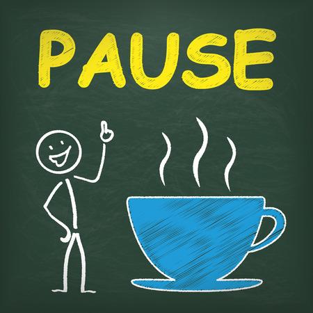 halt: Blackboard with stickmancoffee cup and german text pause, translate break.