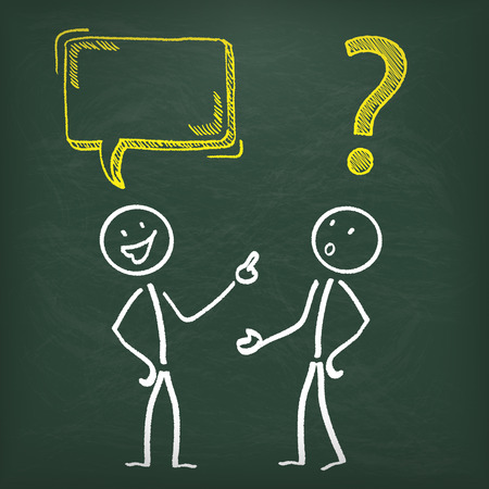 Blackboard with 2 stickme, speech bubble and yellow question mark.  Vector