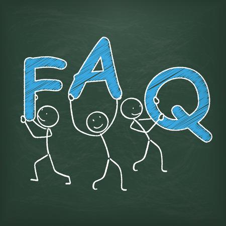 stickmen: Blackboard with stickmen and text FAQ.  Illustration
