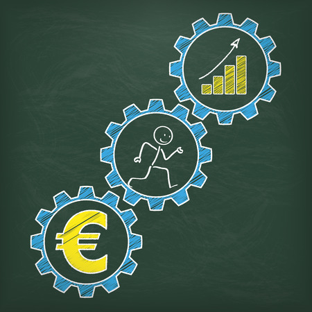 Blackboard with stickman in the blue gears and yellow euro symbol.  Illustration