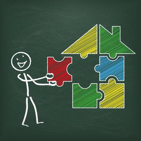 stickmen: Blackboard with stickmen and puzzle house.