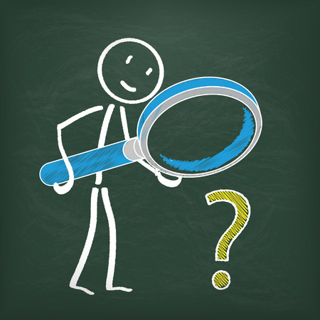 Blackboard with stickman, loupe and question. Illustration