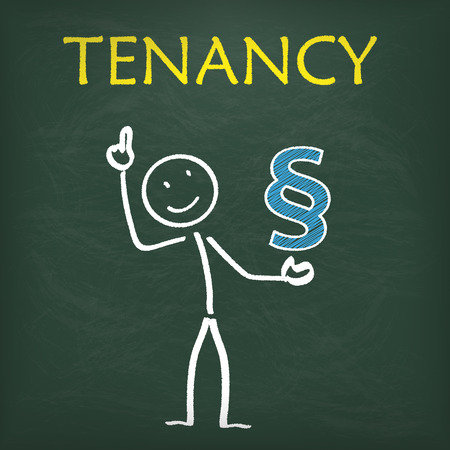 tenancy: Blackboard with stickman paragraph and text tenancy. Illustration