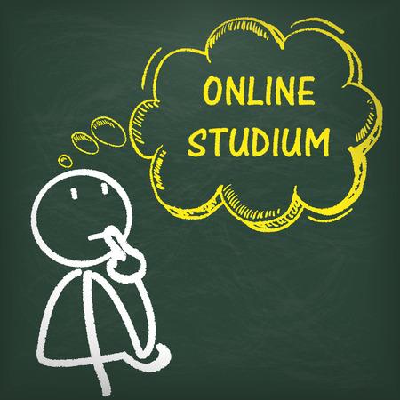 choise: German text Online Studium, translate Online Course.