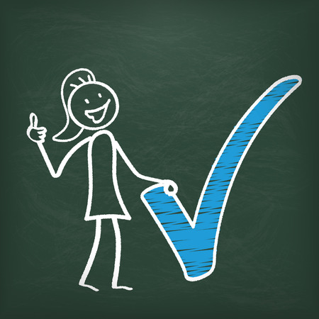 disposition: Blackboard with stickwoman and blue tick symbol.