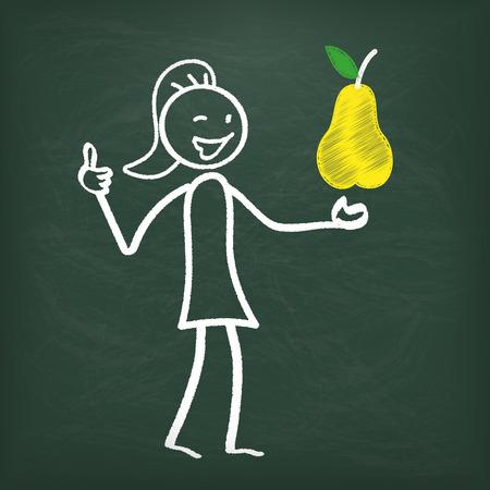 regimen: Blackboard with stickwoman and yellow pear.