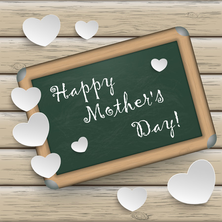 mothering: Blackboard with white paper hearts and text Happy Mothers Day. Illustration