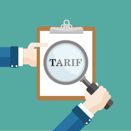 tariff: Human hand with a loupe and Clipboard. German text Tarif, translate tariff. Illustration