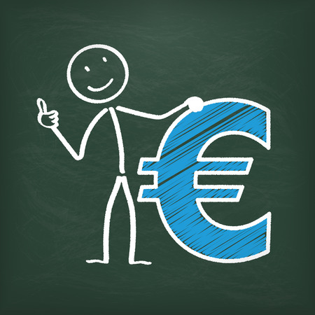 coinbank: Blackboard with stickman and blue euro symbol.
