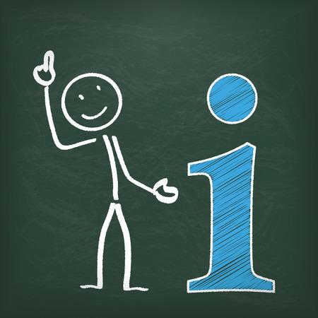 bonhomme allumette: Blackboard avec stickman symbole info. Illustration