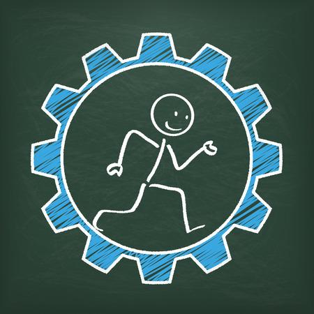 stickman: Blackboard with stickman in the blue gear. chart.
