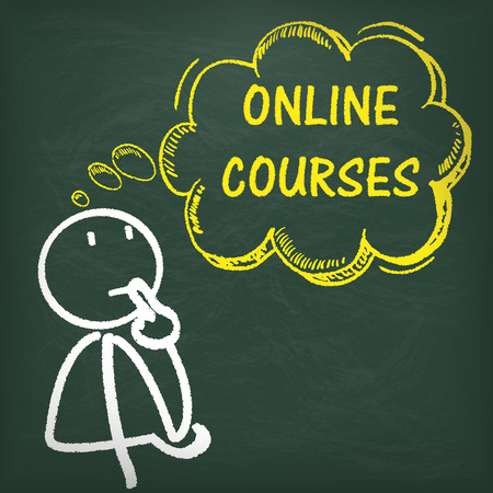 thinking balloon: Stickman with thought bubble and text online courses.