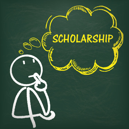 scholarship: Blackboard with stickman, yellow thought bubble and text scholarship.