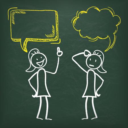 Blackboard with 2 female stickmen and speech bubbles.