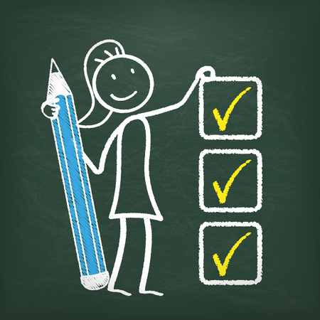 Blackboard with stickwoman, pencil and a checklist.