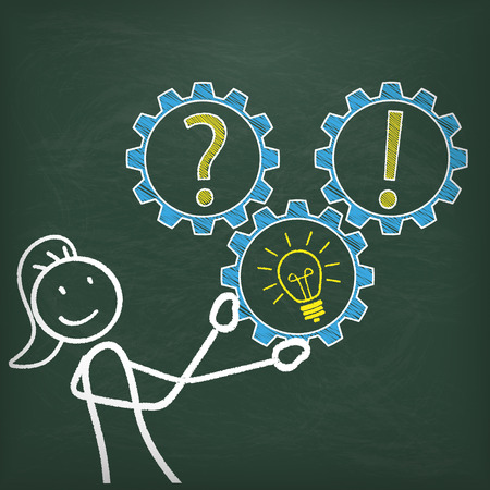 a question mark: Blackboard with stickwoman, 3 gears, question, bulb and answer. chart. Illustration