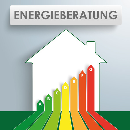 German text Energieberatung, translate Energy Consulting.  Illustration
