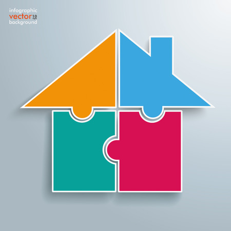 Infographic with 4 puzzle pieces on the gray background.